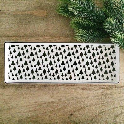 Świąteczny talerz Choinki - czarne 31,5x11,5 cm