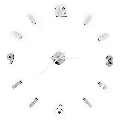 Zegar przyklejany na ścianę - EVA - srebrny