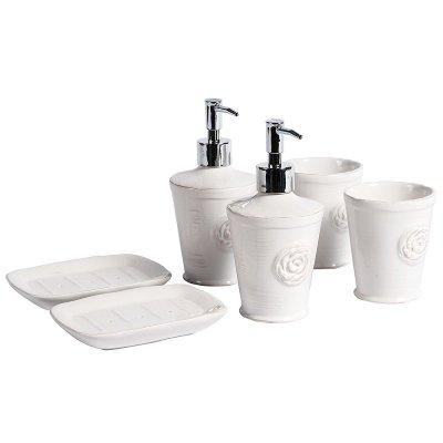 Komplet łazienkowy Sorrento - dozownik do mydła, kubek, mydelniczka