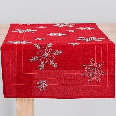 Bieżnik świąteczny CHRISTMAS - gwiazdki czerwony 50x100 cm