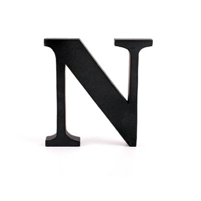 Litera ozdobna duża - N - czarna