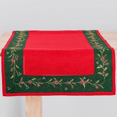 Bieżnik świąteczny CHRISTMAS - czerwono-zielony 60x120 cm