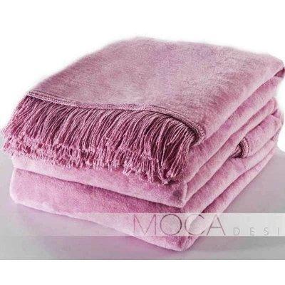 Koc Moca Design / frędzle - różowy / fiołkowy