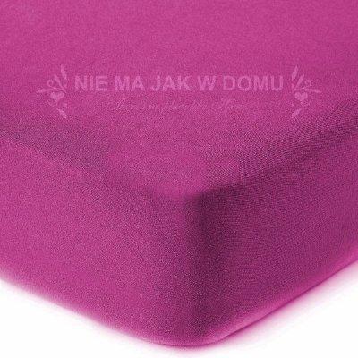 Prześcieradło jersey z gumką - różowe fuksja