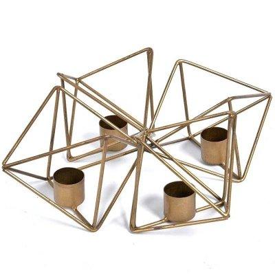 Świecznik Belldeco Gold Line - Geometric - 22 cm