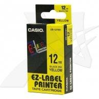 Casio taśma do drukarek etykiet, XR-12YW1, czarny druk/żółty podkład, nielaminowany, 8m, 12mm