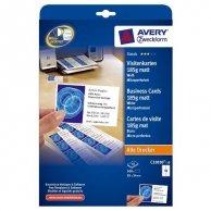 Avery Zweckform, wizytówki, z gładka krawędzią, białe, matowe, A4, 185 g/m2, 85x54mm, 10szt./A4, 10 arkusza, do drukarek atramento