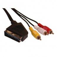 Audio/video kabel Scart-Cinch(3x), M/M 3m, przełącznik IN / OUT