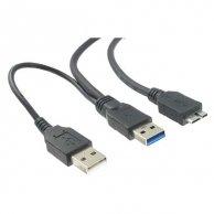 USB kabel (3.0), A(2x)-micro(B), M/M, 1,8m, No Name