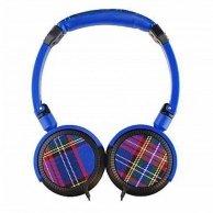 Colour your world, TARTAN, słuchawki, niebieska, 3.5mm konektor