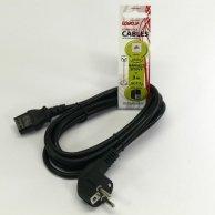 Kabel sieciowy 230V łączący, CEE7 (widelec)-C13, 3m, VDE approved, Logo