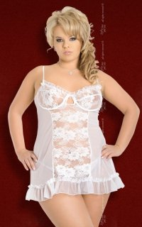 xLulu - Plus Size - white 1203 koszulka i stringi