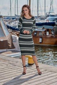Kobieca ołówkowa sweterkowa sukienka LS224 grafit-jasnoszary-cz<br />arny