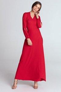 Sukienka maxi z wycięciami na rękawach - czerwony - S114