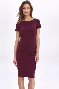 Dopasowana, ołówkowa sukienka - bordo - CS48