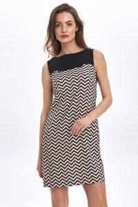 Dwukolorowa sukienka - zygzak - CS55