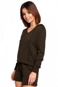 BK064 Sweter z kapturem i kieszenią kangurek - khaki