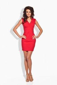 L134 Taliowana sukienka czerwony