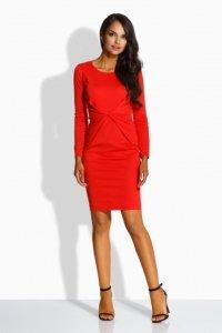 L219 sukienka z zakładką w talii czerwony