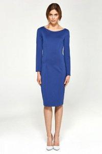 Dzianinowa sukienka - niebieski - S95