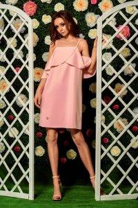 Modna sukienka z odkrytymi ramionami L256 pudrowy róż