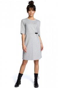 B066 Sukienka z klamrą szara