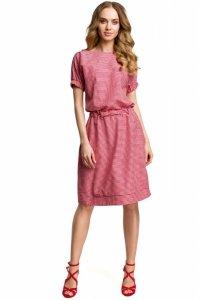 M376 Sukienka w krateczkę czerwona