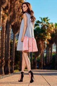 Trapezowa sukienka L247 jasnoszary-pudrowy róż