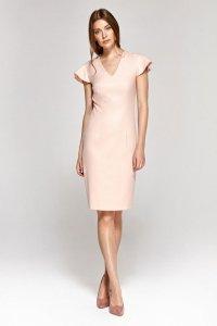 Sukienka z oryginalnymi rękawami - róż - CS09