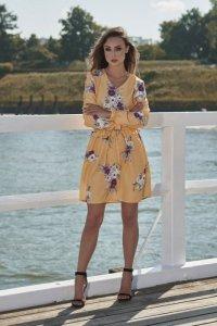 Dziewczęca sukienka we wzory L275 żółty w kwiatki