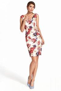 Sukienka z głębokim dekoltem na plecach - kwiaty - S107