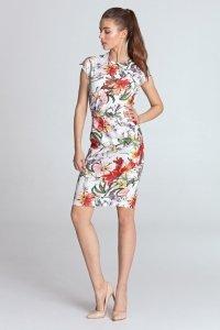 Sukienka ołówkowa - kwiaty/ecru - S120