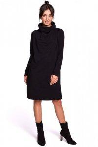 B132 Sukienka z wysokim kołnierzem - czarna