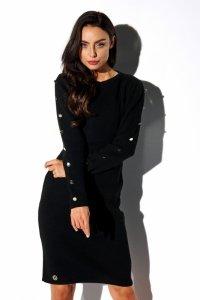 Sukienka swetrowa z guzikami na rękawach LS270 czarny