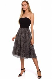 M482 Sukienka gorsetowa z tiulem w panterke - czarna