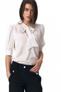 Elegancka bluzka ecru z wiązaniem na dekolcie - B107