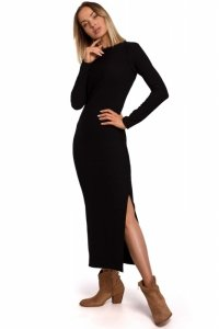 M544 Sukienka maxi z rozcięciem na nogę - czarna