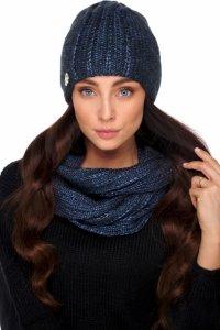 Elegancki komplet czapka i komin z wełną LC130 jeans
