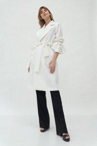 Ecru płaszcz z wiązanymi rękawami - PL13