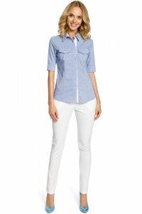 M027 Klasyczna taliowana koszula mankiety - niebieska