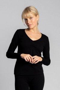 LA034 Bawełniana bluzka z długimi rękawami - czarny