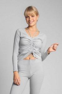 LA038 Bawełniana bluzka z szianiny prążkowanej - popielaty