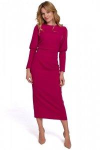 K079 Sukienka midi z wysokimi mankietami - śliwkowa