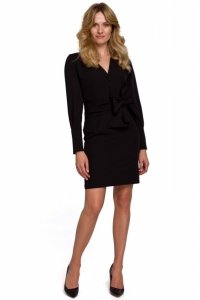 K082 Sukienka z wiązaną kokardą - czarna