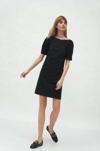 Czarna sukienka z bufiastymi rękawami - S166