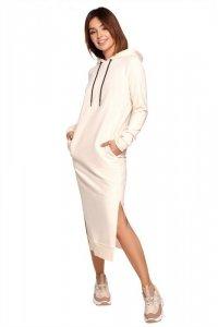 B197 Sukienka midi z kapturem - śmietankowa