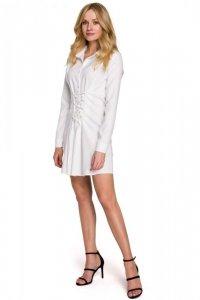 K094 Sukienka koszulowa z wiązaniem - biała
