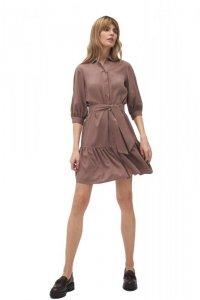 Wiskozowa sukienka z falbaną w kolorze mocca - S179