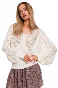 M595 Sweter z rękawami nietoperzowymi - ecru