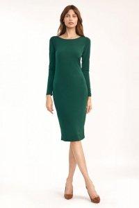 Zielona sukienka z wycięciem na plecach - S191